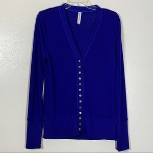 Zenana Blue Snap Closure Cardigan Sweater - L
